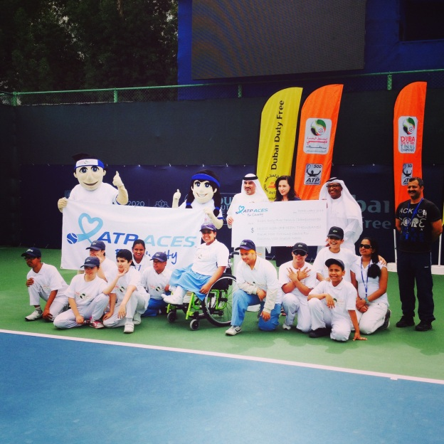 Fundraising for Special Needs schools at Dubai Duty Free Tennis 2014.